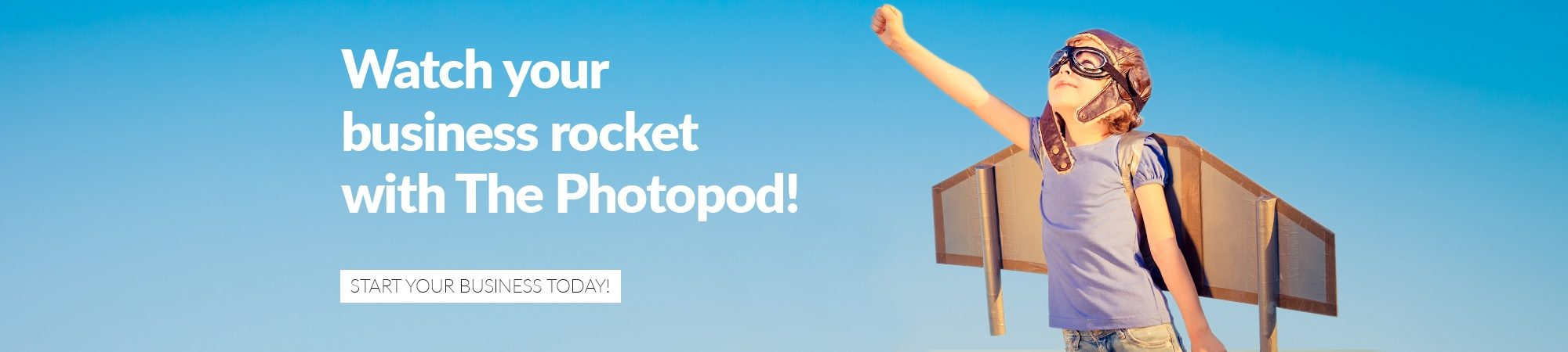 Photo booth business banner image of boy and rocket