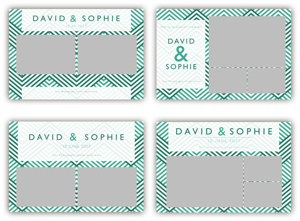 photo booth template zigzag green